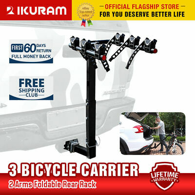 iKuram 3 Bicycle Car Carrier Rack Lockable Hitch Steel Foldable Bike Mount