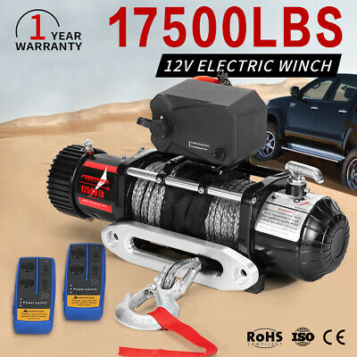 12V Remote Electric Winch 26M Synthetic Rope 17500LBS / 7938kg For 4WD Truck