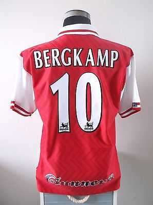 Dennis BERGKAMP #10 Arsenal Home Football Shirt Jersey 1997/98 (L)