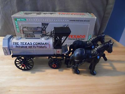 1991 Ertl Texaco Die-Cast Horse & Tanker Coin Bank. New in Box