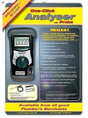Regin Gas Flue Analyser With Probe REGXA1 - Complete With 12 Months Calibration