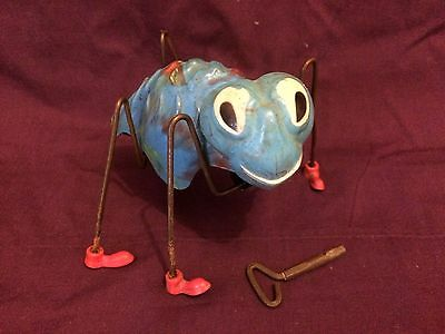 VINTAGE 1950s TRIANG MINIC WIND-UP TOY GREAT SPIDER RARE BLUE WORKING ORDER VGC!