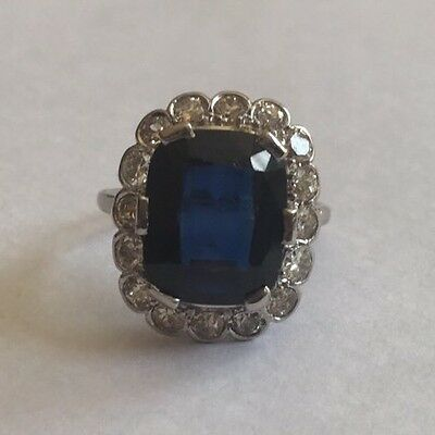 Antique Emerald Cut 5ct Sapphire & 1.50ct Diamond 18ct Gold Art Deco Ring