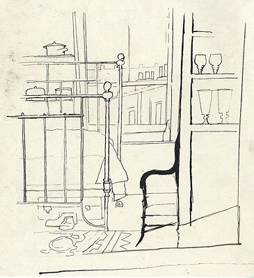 Barbara Dorf - Mid 20th Century Pen and Ink Drawing, Bedroom View