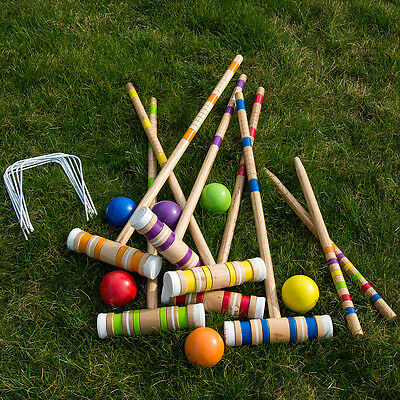 HEY PLAY COMPLETE CROQUET SET w/ CARRYING CASE