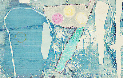 Roman Black - Signed Artist's Proof Mid 20th Century Mixed Media, Blue Abstract