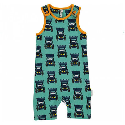 Tractor short playsuit dungarees by Maxomorra in organic cotton