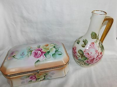 Vtg R S Prussia Large 10 inch Porcelain Hinged Jewelry Box Trinket Box Roses