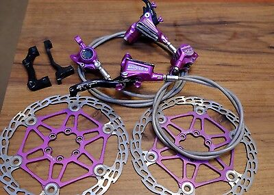 Hope Tech3 X2 Purple Hydraulic Brake Set Inc Braided Hose + 180mm Rotors +mounts