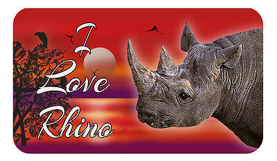 "Rhinoceros Decal Bumper Sticker 3.5"" x 6"" Personalize Gifts Reds Jungle Rhino"