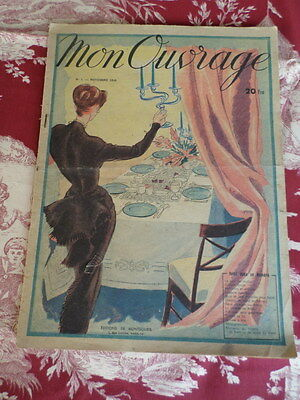 French Vintage 1948  Mon Ouvrage Craft Magazines Beautiful detail No 1 Nov