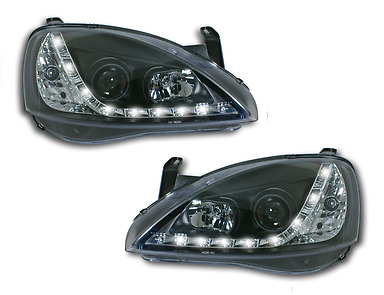 Vauxhall Corsa C 2001-2006 Black Style LED Day Running Lights DRL Headlights