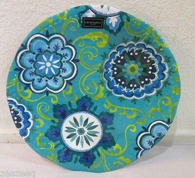 Cynthia Rowley Teal Blue Medallion Floral Melamine Dinner Plates Set Of 2 : teal dinner plates - pezcame.com