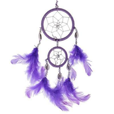 "13"" Traditional Purple Dream Catcher with Feathers Wall Car Hanging Ornament"