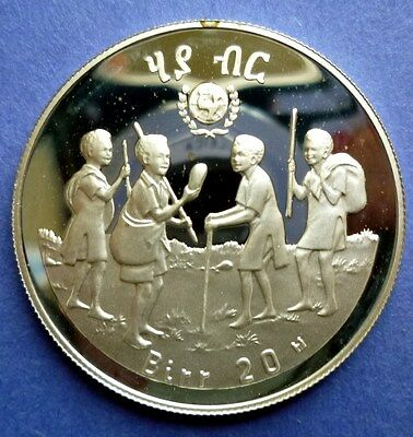 1979 (Ee1972) Ethiopia - 20 Birr - Int. Year Of Child - Proof Sterling Silver