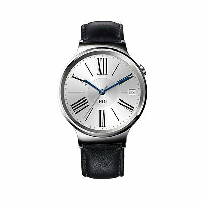 Huawei Smartwatch Stainless Steel Black Suture Leather Strap+ 18mm Silver Band