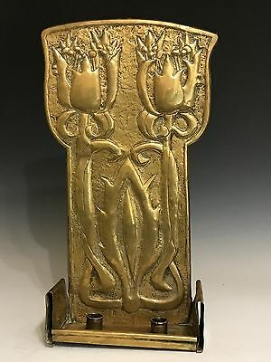 Fabulous Arts Crafts / Art Nouveau Brass Double Candle Wall sconce c1910