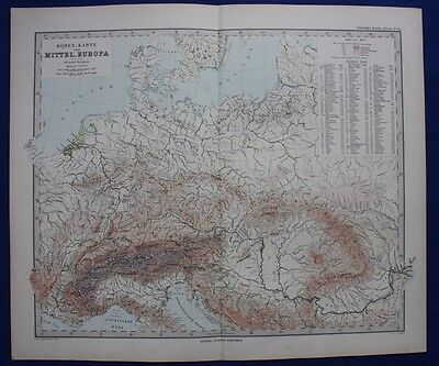 CENTRAL EUROPE, PHYSICAL MAP, MOUNTAINS original antique map, Stieler 1880