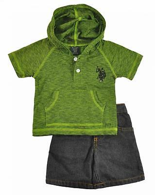 US Polo Assn Infant Boys Green Hooded Top 2pc Denim Short Set Size 12M 18M 24M