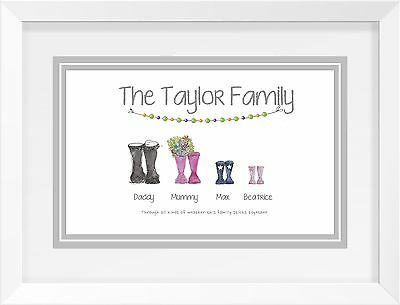 Personalised A4 Family Print - Watercolour Wellingtons -  UNIQUE GIFT