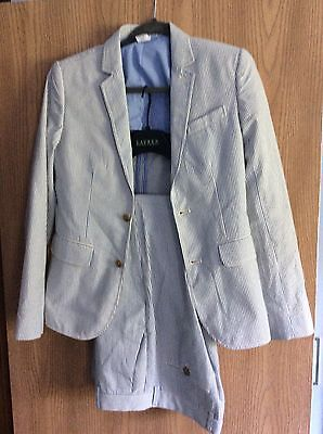J Crew Crew cuts 2 Piece Suit Ja Key Blazer And Pants Blue White Seersucker 14