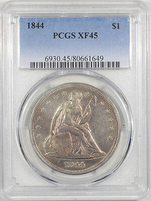 1844 Liberty Seated Dollar Pcgs Xf-45. The Reeded Edge!