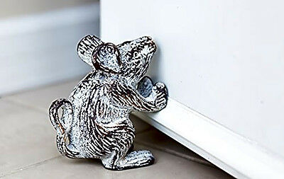 Vintage Cast Iron Mouse Old Look Wedge Rustic Door Stop Antique White Home Déco
