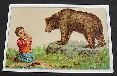 1880's ADVERTISING BLANK STORE CARD, FEATURES  A BEAR &  A  CHILD PRAYING