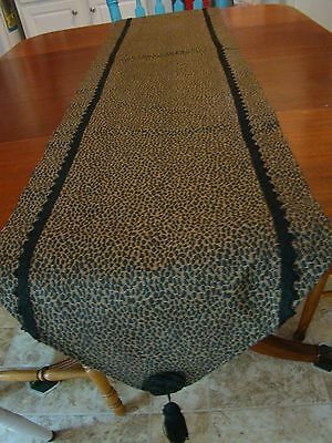 "Brown and Black Table Runner with Black Trim and Tassels  Used  Approx. 71"" x 14"