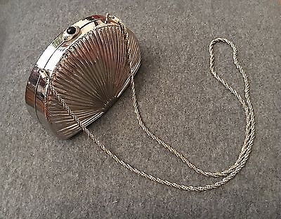 Vintage Silver Metal Clutch - Made in Italy - Metallic Purse Hard Shell w/Chain