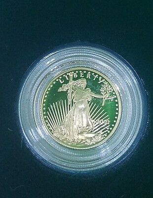 2001 W US Mint Gold $5 Proof in OGP 1/10