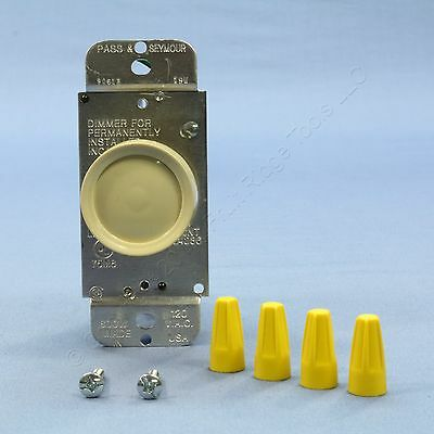 Pass & Seymour Ivory Rotary Click ON/OFF Light Dimmer Switch 3-Way 600W 90613-I