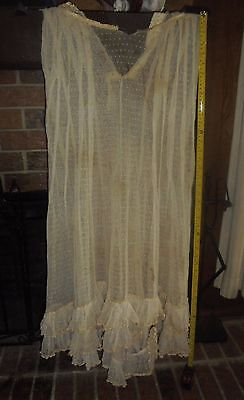 Antique HUGE LACE SKIRT French Doll Dress Scrapbook Silk Trim Swiss Dot