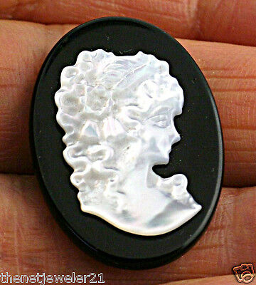 Natural Carved Mother of Pearl Cameo on Onyx Bead findings Pendant Brooch 4pcs