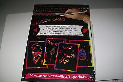 1 Rainbow Magical Scratch Pad 40 Sheets Incl 2 Scratch Pen New