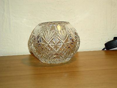 Vintage stunning small crystal cut glass round squat vase