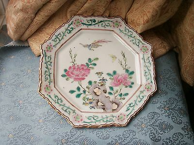 Old Antique Chinese Famille Rose Enamel Porcelain Bird Floral Plate China Export