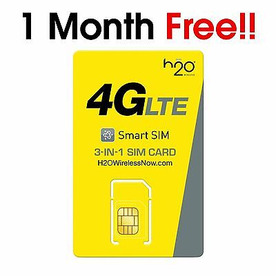 H2O TRIPLE CUT Sim Card Including $30 3GB 1st Month Free Prefunded 10 INT call