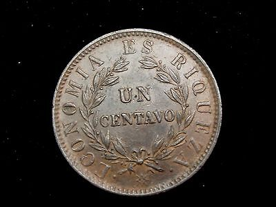 1853 Chile 1 Centavo Coin KM#127 One Year Type