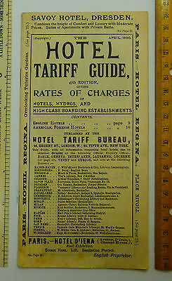 Vintage 1900 Hotel Tariff Guide Bureau Pocket Guide Pamphlet NYC  London England