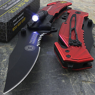 "8.25"" Fire Fighter Rescue Spring Assisted Folding Pocket Knife Led Flashlight"