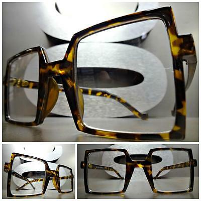 CLASSIC VINTAGE RETRO Style Clear Lens EYE GLASSES Square Tortoise Fashion Frame