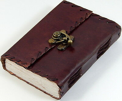 """4"""" x 5"""" Pocket Leather Journal Sketchbook Lace Edges, Brass Latch 190 Pages"""