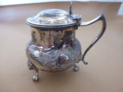 Antique silver plate mustard pot Marked With colbart blue pot see pictures