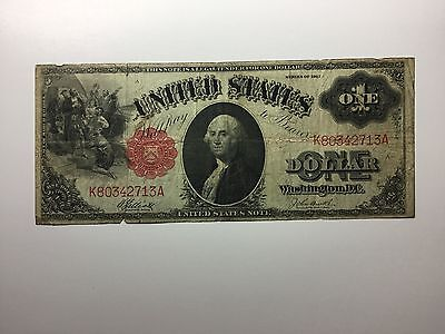 1917 $1 One Dollar Bill United States Legal Tender Large Currency Note