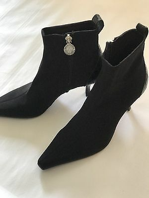 Donald J Pliner Women's Size 5.5 Black Lola Stretch And Leather Ankle Boot NEW!!