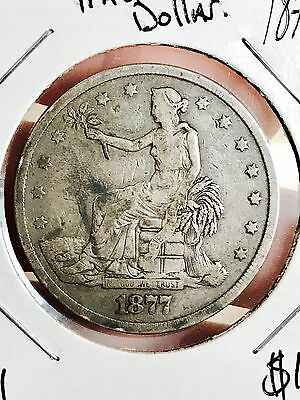 1877 Trade Silver Dollar. Collector Coin For Your Set Or Collection