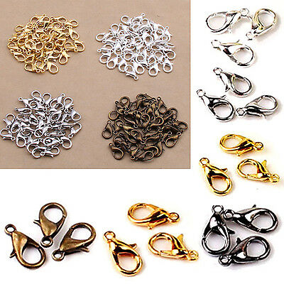 Neu 100PCS 12mm Silver Plated Lobster Clasps Claw Jewelry Fastener Hook Finding