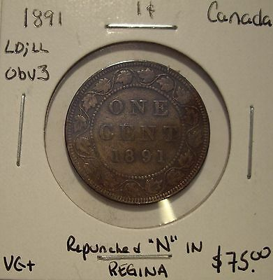 Canada Victoria 1891 LD;LL Obv 3 Repunched N Large Cent - VG+