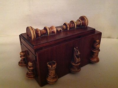 Very Interesting  Wooden Chess Box Treen Unusual Antique Rare Old Vintage